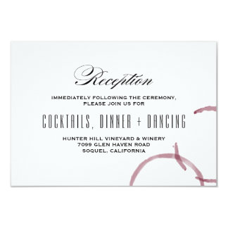 Wine Stains Winery Vineyard Wedding Reception Card