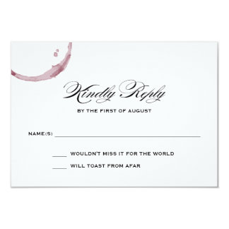 Wine Stains Winery Vineyard Wedding Response Card