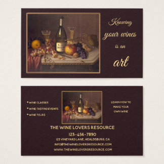 Wine Still Life Art Classes Events Business Card