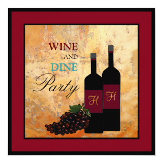 Wine Tasting and Dinner Party 13 Cm X 13 Cm Square Invitation Card