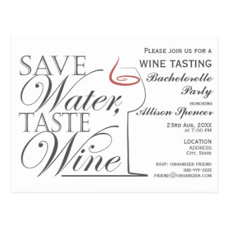 Wine tasting Bachelorette Party Invitation design Postcard