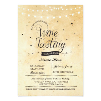 Wine Tasting Birthday Party Rustic ANY AGE Invite
