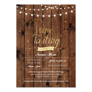 Wine Tasting Birthday Party Wood ANY AGE Invite
