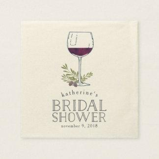 Wine Tasting Bridal Shower Paper Napkin