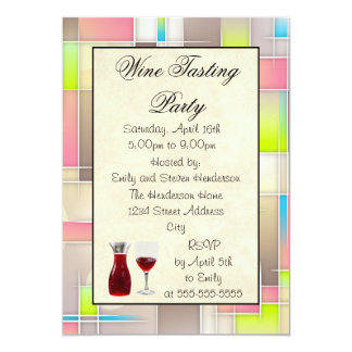 Wine Tasting Party Abstract Design 13 Cm X 18 Cm Invitation Card