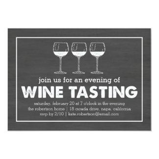 Wine Tasting Party Black & White Chalkboard 13 Cm X 18 Cm Invitation Card