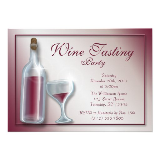 Wine Tasting Party ~ Burgundy Invitations