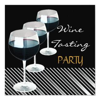 "Wine Tasting Party Drinks Glasses Black White 2 5.25"" Square Invitation Card"