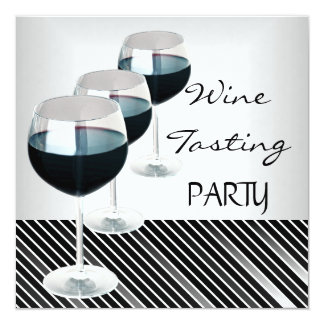 Wine Tasting Party Drinks Glasses Black White 3 Card