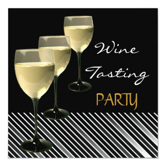 "Wine Tasting Party Drinks Glasses Black White 5.25"" Square Invitation Card"