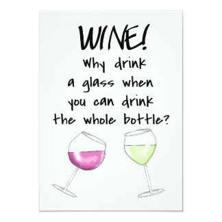 Wine Tasting Party Funny Saying Drink Bottle Card