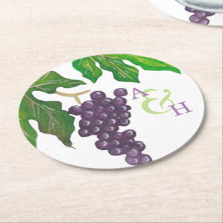 Wine Tasting Party Grapes Couple Monogram Round Paper Coaster