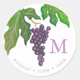 Wine Tasting Party Grapes Monogram Round Sticker