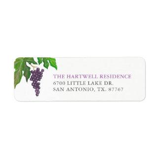 Wine Tasting Party Grapes Return Address Return Address Label