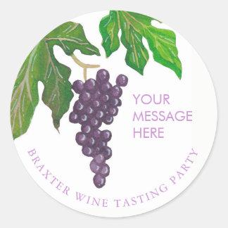 Wine Tasting Party Grapes Round Sticker