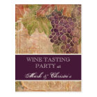 Wine Tasting Party Invitation Aged Grape Vineyard Postcard