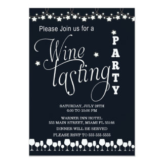 Wine Tasting Party Invitation Black White