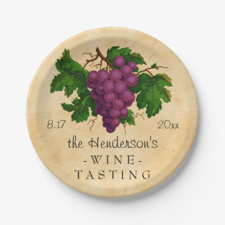 Wine Tasting Party Vintage Grapes Personalized 7 Inch Paper Plate