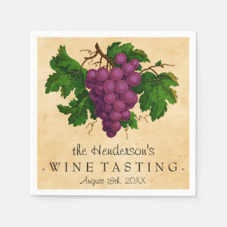 Wine Tasting Party Vintage Grapes Personalized Disposable Napkins