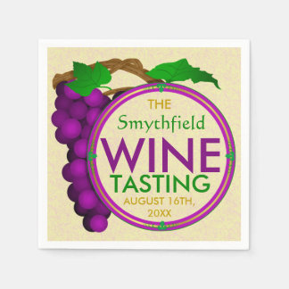 Wine Tasting Party with Grapes Personalized Paper Napkin