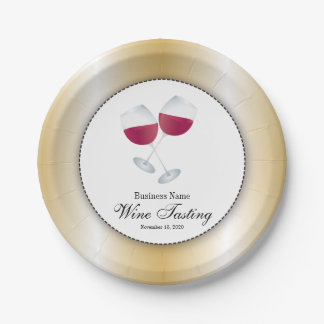 Wine Tasting with Glass of Red Wine Paper Plate
