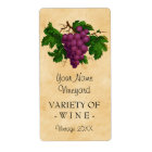 Wine Template Vintage Grapes Personalised Bottle