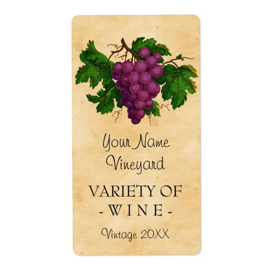 Wine Template Vintage Grapes Personalised Bottle Shipping Label