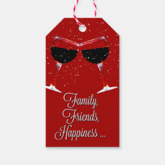 Wine Themed Gift Tag Family Friends Happiness