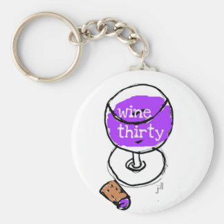 WINE THIRTY BRIGHT AND BOLD WATERCOLOR BASIC ROUND BUTTON KEY RING
