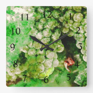 Wine Time - Green Grapes Used to Make Wine Square Wall Clock