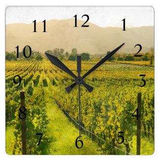 Wine Time in Napa Valley California Square Wall Clock