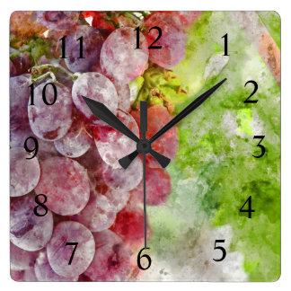 Wine Time - Purple Wine Grapes on Vine Square Wall Clock