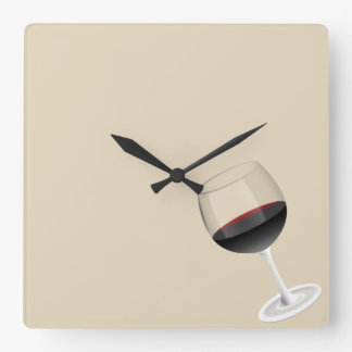 Wine time square wall clock