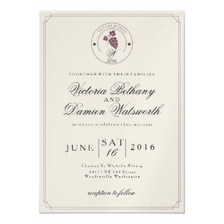 Wine Vineyard Modern Vintage Wedding Invitation