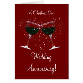 Wine Wedding Anniversary on Xmas Eve Card