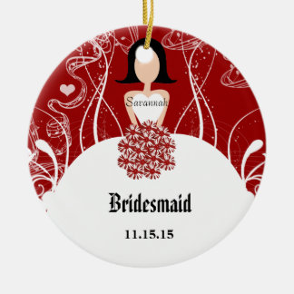 Wine Wedding Gown Bridesmaid Christmas Ornament
