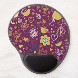 Wine Whimsical Birds and Flowers Gel Mouse Pads
