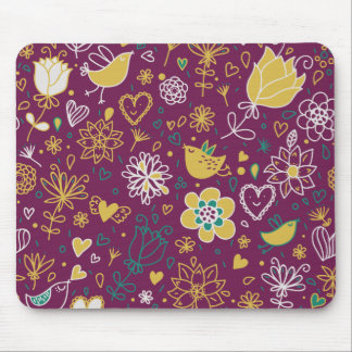Wine Whimsical Birds and Flowers Mousepad