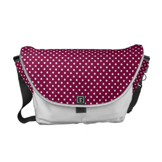Wine & White polka dot bag Commuter Bags