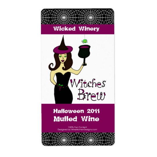 """Wine Witch """"Witches Brew"""" Halloween Wine Labels"""