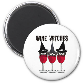 WINE WITCHES RED WINE GLASS WITCH PRINT 6 CM ROUND MAGNET