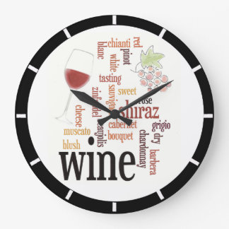 Wine Word Cloud Design Wall Clock