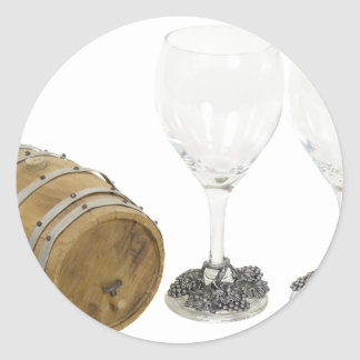 WineBarrelGlasses110709 copy Round Sticker
