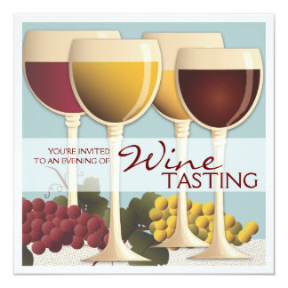 Wineglass & Grapes Wine Tasting Party Invitation