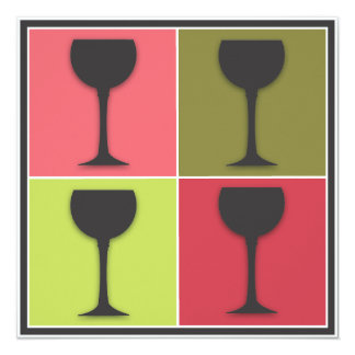 Wineglass Pop Art Wine Tasting Party Invitation