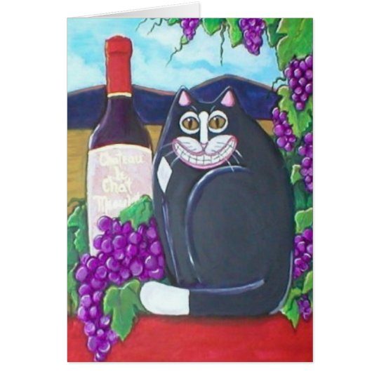 Winery Cat Greetings Card