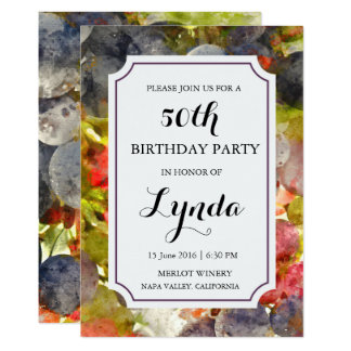 Winery or Vineyard Watercolor Birthday Invitation