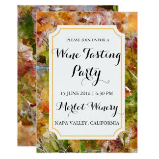 Winery or Vineyard Watercolor Wine Tasting Party 13 Cm X 18 Cm Invitation Card
