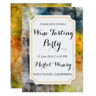 Winery or Vineyard Watercolor Wine Tasting Party Card