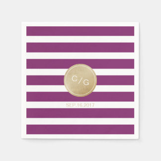 Winery stripes simple modern wedding monogram paper napkin